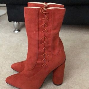 Stunning suede-lace up shoe boot